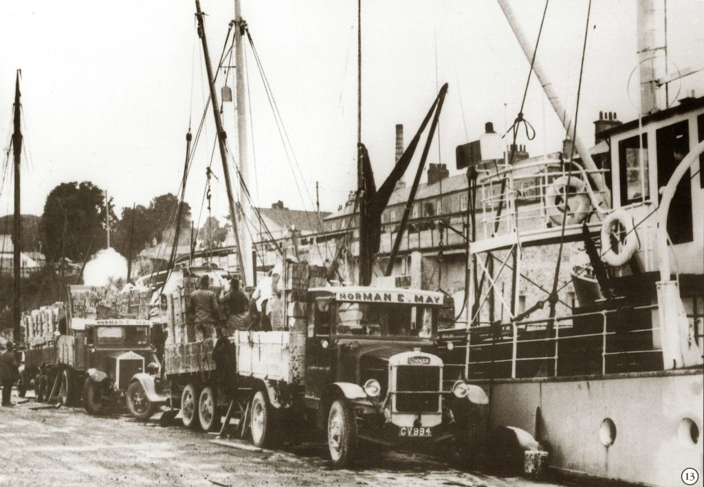 HS1296 Charlestown Harbour, unloading Barrel Staves for the Cooperage, Norman E May Commer Lorryreg.CV994